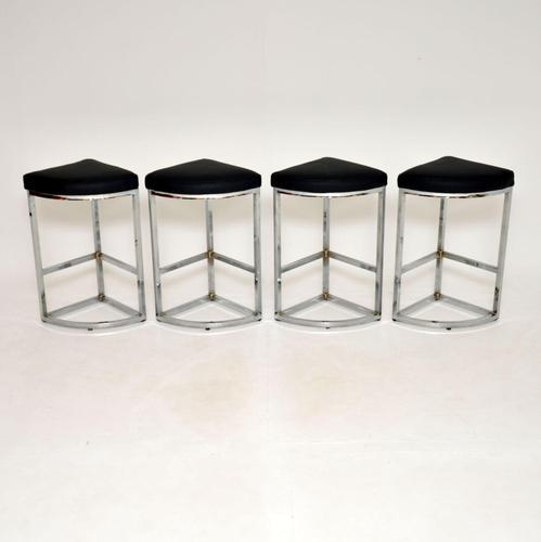 Set of 4 Vintage 1970's Chrome Bar Stools (1 of 10)