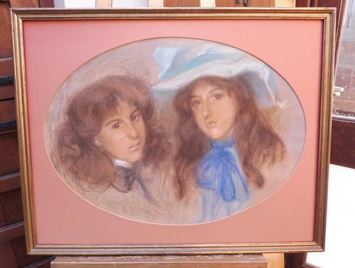 Large Pastel Portrait Two Girls Monogrammed TC 1910 (1 of 10)