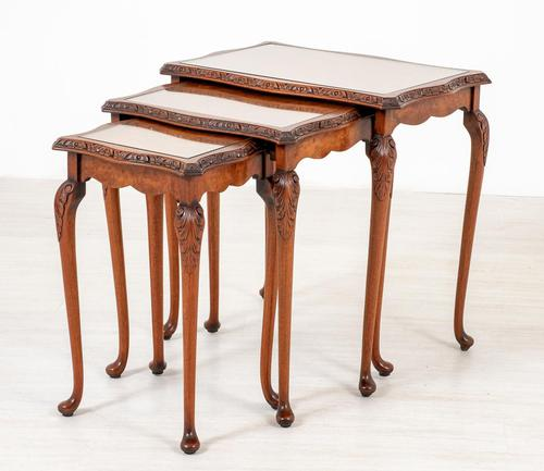 Pretty Queen Anne Style Nest of 3 Tables c.1930 (1 of 8)