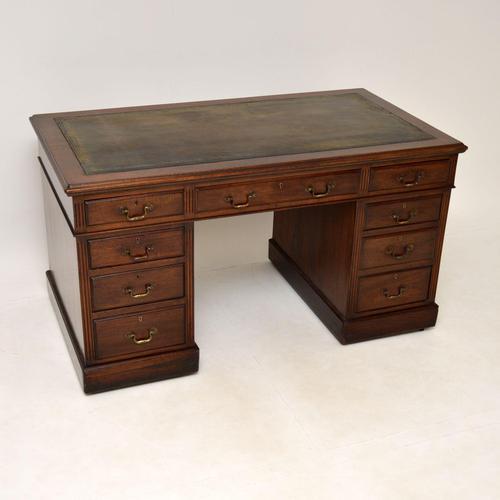 Antique Victorian  Mahogany Pedestal Desk (1 of 12)