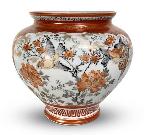Meiji Period Kutani Kacho Decorated Vase (1 of 5)