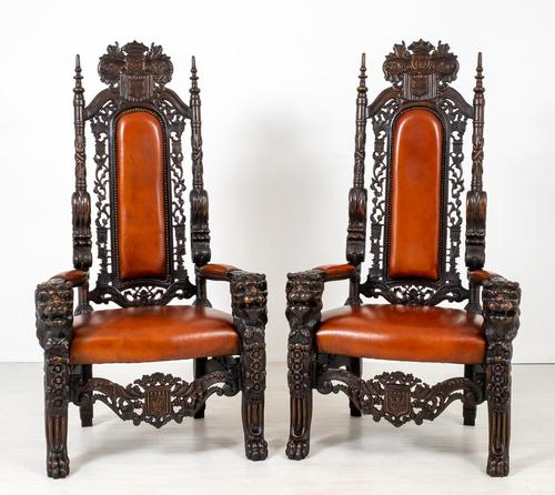 Superb Pair of Oak Throne Chairs (1 of 14)