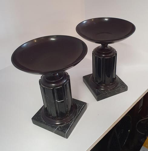 Pair of Victorian Marble & Bronze Tazzas (1 of 7)