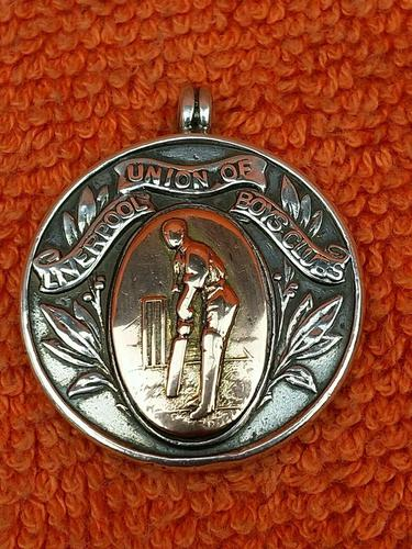 Antique Sterling Silver Hallmarked & Rose Watch Fob 1919, Cricket, Liverpool Union of Boys Club (1 of 4)