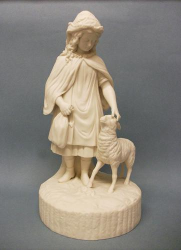 English Parian Ware Figure of a Girl & Sheep c.1860 (1 of 8)