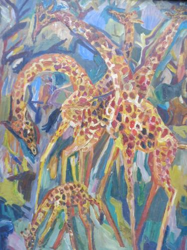Large oil on board Giraffes in the park listed artist Henry Sanders (1 of 11)