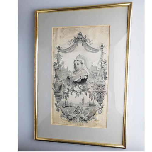 Large Textile Embroidery Commemorative Royal Silk Picture Stevengraph Type 19th Century (1 of 4)