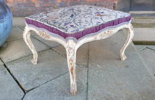 Stylish 19th Century French Upholstered Stool (1 of 6)