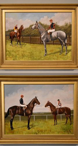 """Oil Painting Pair by Walter Vernon """"Racehorse Scenes"""" (1 of 11)"""