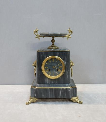 French Neoclassical Style Grey Marble Mantel Clock (1 of 10)