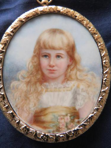Miniature Portrait Blue Eyed Young Girl 1890 (1 of 5)