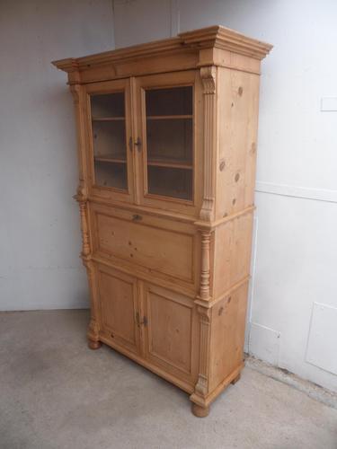 Victorian Waxed Antique Pine 2 Door 2 Piece Secretaire / Bookcase (1 of 10)