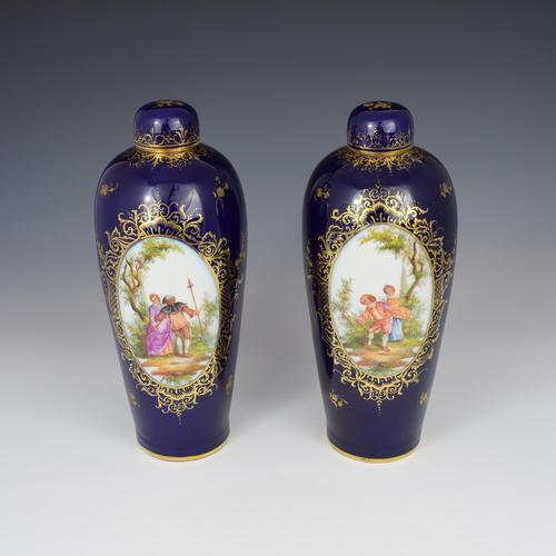Pair of Large Dresden Porcelain Vases & Covers c.1880 (1 of 12)