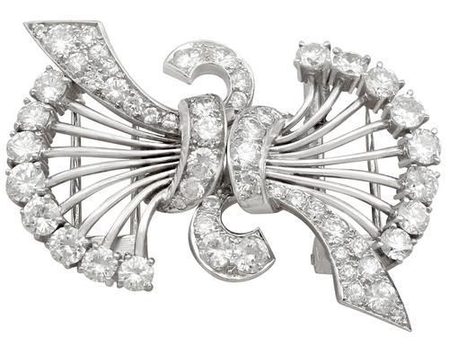 4.16ct Diamond & Platinum Double Clip Brooch - Art Deco c.1930 (1 of 12)