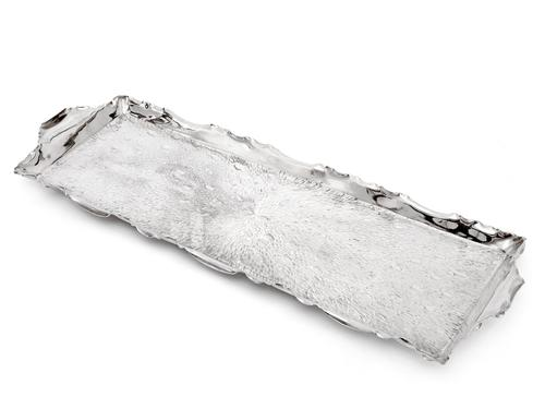 Late Victorian Silver Plated Rectangular Bar Tray with a Rustic Hammered Design (1 of 4)