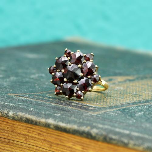 The Vintage Stepped Garnet Cluster Ring (1 of 5)