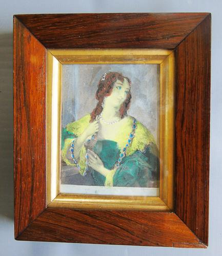 Miniature Hand Coloured Engraving of Georgian Lady in Rosewood Frame (1 of 2)