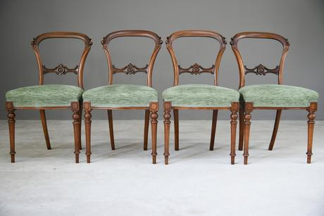Set of 4 Antique Victorian Walnut Dining Chairs (1 of 12)