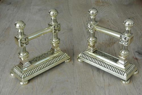 Quality Pair of Victorian Brass Fire Dogs Fire Iron Rests Andirons c.1890 (1 of 9)