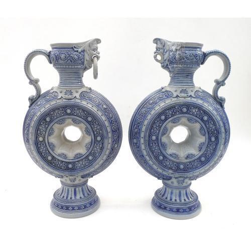 Pair of 19th Century German Weserwald Salt Glazed Moon Flask Ewers (1 of 1)