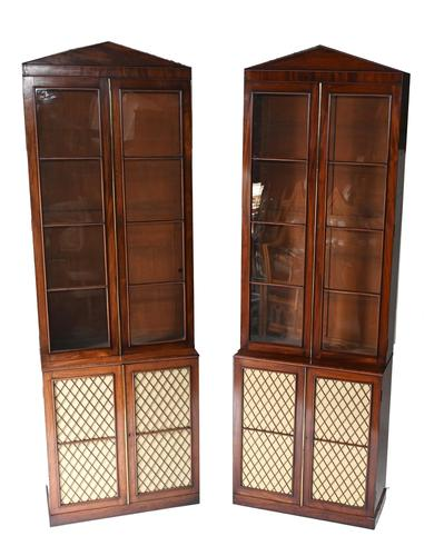 Pair of Regency Library Bookcases Display Cabinets c.1820 (1 of 12)