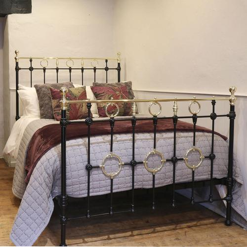 Black Victorian Brass & Iron Bedstead with Brass Circles (1 of 11)