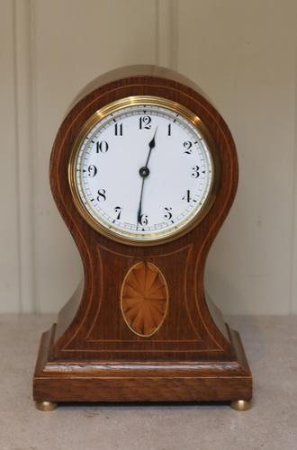Edwardian Oak & Inlay Balloon Clock (1 of 8)