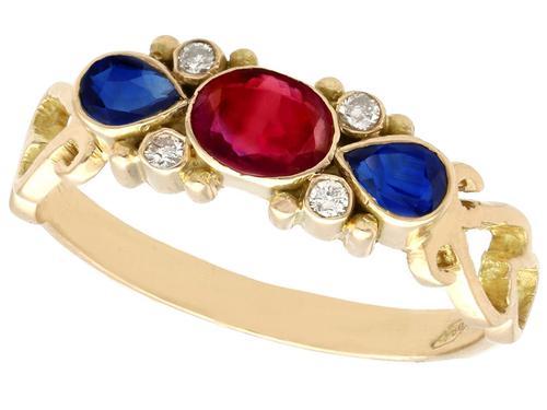 0.50ct Ruby, 0.32ct Sapphire & Diamond, 18ct Yellow Gold Dress Ring - Vintage c.1940 (1 of 9)