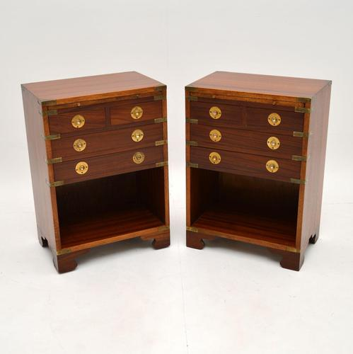 Pair of Military Campaign Style Mahogany Bedside Cabinets (1 of 9)