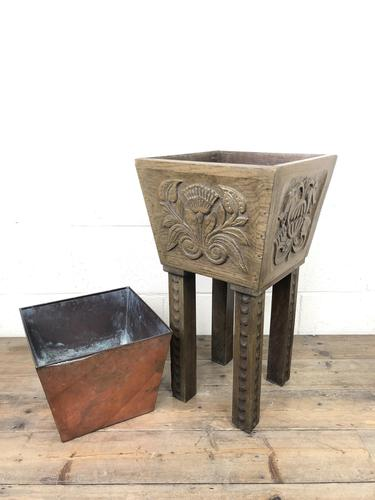 Carved Oak Plant Stand with Metal Liner (1 of 7)