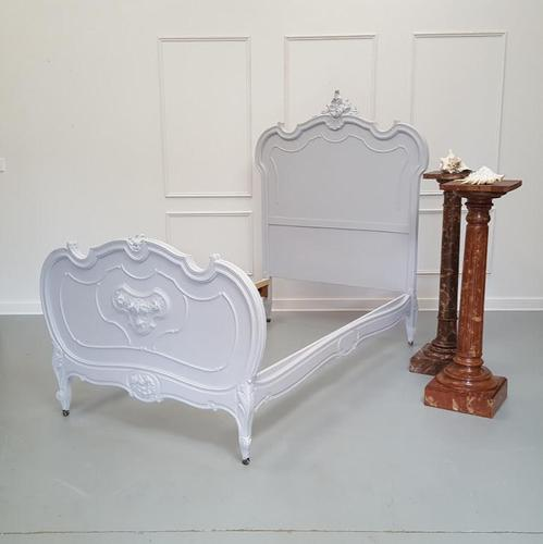 Antique Grey French Single Bed c.1880 (1 of 7)