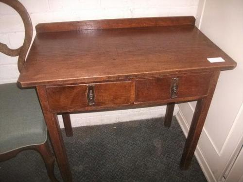 Small Two Drawer Oak Writing Desk (1 of 2)