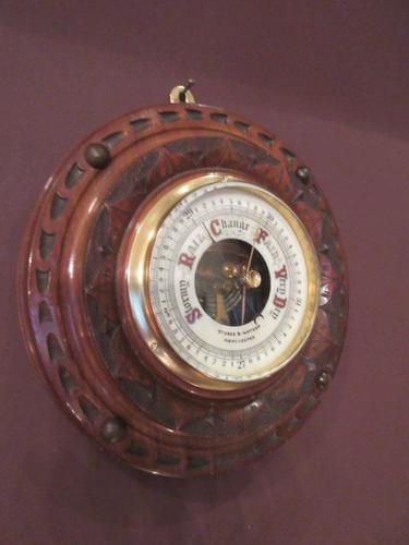 Antique Solid Walnut Manchester Aneroid Barometer (1 of 6)