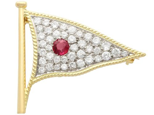 1.65ct Diamond & 0.48ct Ruby, 18ct Yellow Gold Flag Brooch - Vintage c.1945 (1 of 9)