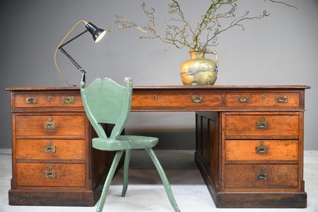 Large Victorian Mahogany Partners Desk (1 of 13)