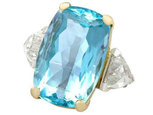 25.23ct Aquamarine & 3.40ct Diamond, Platinum Dress Ring - Vintage c.1950 (1 of 9)