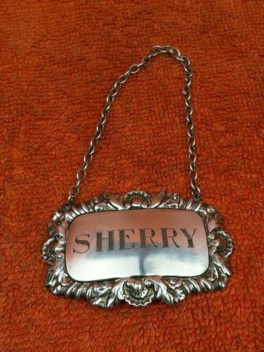 "Sterling Silver Hallmarked Decanter Label ""Sherry"" 1961 C J Vander Ltd (1 of 5)"