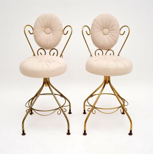 Pair of Vintage French Brass Swivel Side Chairs (1 of 10)