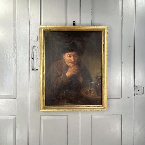 Antique Victorian Oil Painting Portrait of Man with Hat in Inn Pub Ale House (1 of 10)