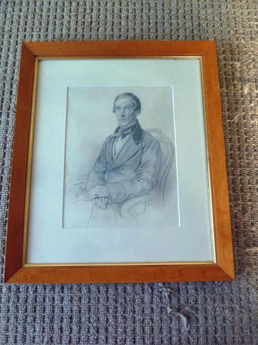 """French Graphite Portrait """" Gentleman"""" Indistinctly Signed, 1856 (1 of 7)"""
