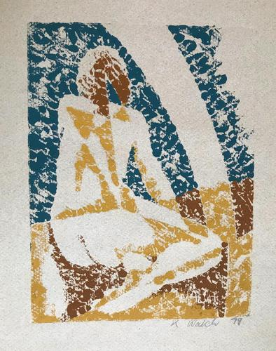 Original oil  block print on card 'seated girl' by Ken Walch 1928-2017. Signed and dated 1979 (1 of 1)