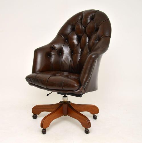Georgian Style Leather Swivel Desk Chair (1 of 8)