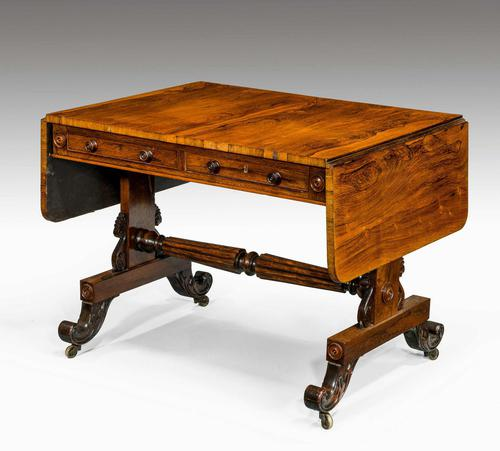 Regency Period Rosewood Sofa Table with Turned Stretcher (1 of 6)