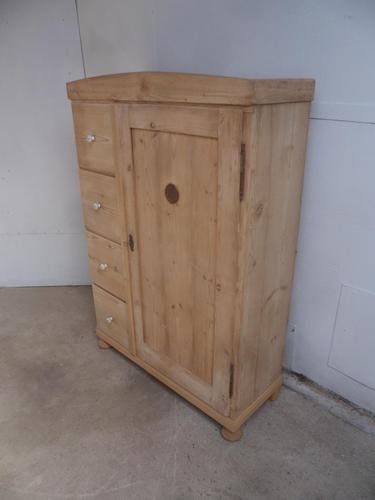 Victorian Tall Antique Pine 4 Drawer Kitchen Storage Cupboard to wax / paint (1 of 12)