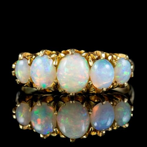 Antique Victorian Opal Five Stone Ring 18ct Gold 2.20ct Of Opal c.1900 (1 of 6)