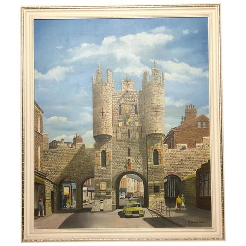 """Fine Oil Painting Architectural Entrance """"Micklegate Bar"""" York Signed F Chilton (1 of 31)"""