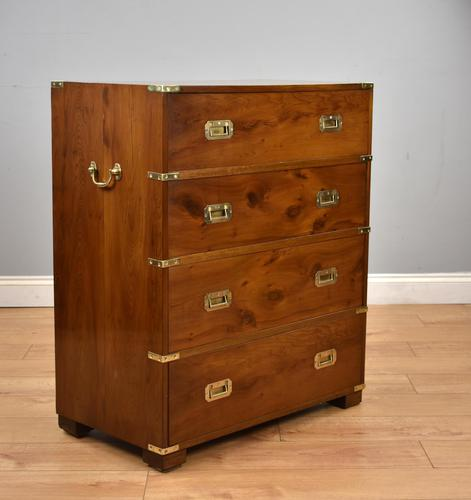 Yew wood Campaign Style Chest Drawers (1 of 9)