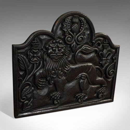 Antique Fireback, English, Cast Iron, Decorative Fireplace, Victorian c.1900 (1 of 8)
