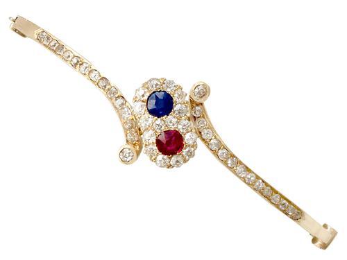 0.45ct Ruby & Sapphire, 1.50ct Diamond, 14ct Yellow Gold Bangle - Antique c.1890 (1 of 12)