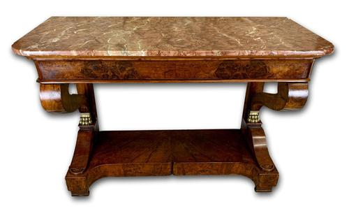 Regency Burr Walnut Console Table with Marble Top (1 of 9)